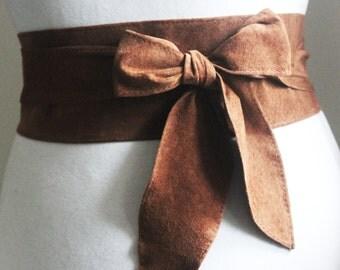 Brown Suede Tulip Tie Belt | Brown Suede Obi Belt | Waist Belt | Sash Tie Belt | Real Suede Leather Belt| Handmade Belt | Plus size belts