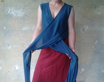 Wrap Top Sleeveless MULTI PETROL Bohemian Shawl Cardigan Sleeveless Womens Blouse Womens Shirt Everyday Easy to Wear PETROL Wrap Top