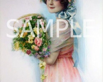 Lady with Bouquet -  Fabric Block 15-125- FREE SHIPPING