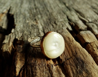 Wooden black ring, natural wood ring, unique gift, wood jewelry, eco friendly ring, wood gem, pearl ring (0138)