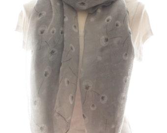 Dandelion scarf , Beach Wrap, Cowl Scarf Pareo grey dandelion Print Scarf , Cotton Scarf, Gifts for Her
