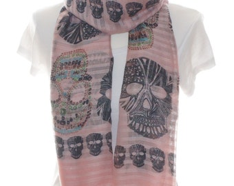 Pink skull scarf, multi colour skull scarf, Oversized Scarf, Cotton Scarf, Gift For Her,