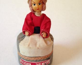 Vintage Japan Pin Cushion Tape Measure Doll