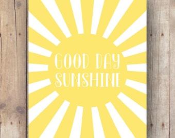 good day sunshine Beatles quote printable nursery and kids room decor