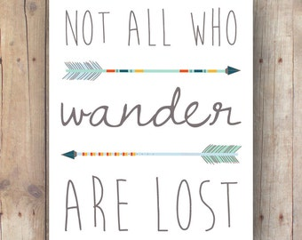 boho kids room decor printable - not all who wander are lost - lord of the rings nursery wall art - Tolkien quote - inspirational quote