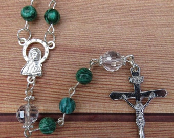 Handmade Catholic Malachite and Crystal Rosary Beads