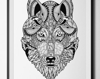 Run with Wolves black and white digital print from an original hand drawn illustration