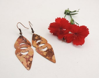 Oval shaped Dangle Earrings - Flame Colored Copper