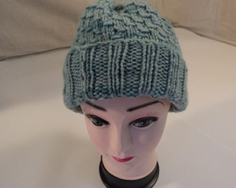 Handcrafted Reversible Slouchy Hat Green 100% NZ Merino Wool Female Adult