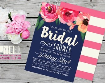 Navy and Pink Floral Bridal Shower Invitation - CUSTOMIZABLE PRINTABLE INVITATION - Watercolor Luncheon Shower, Gold Glitter Invite