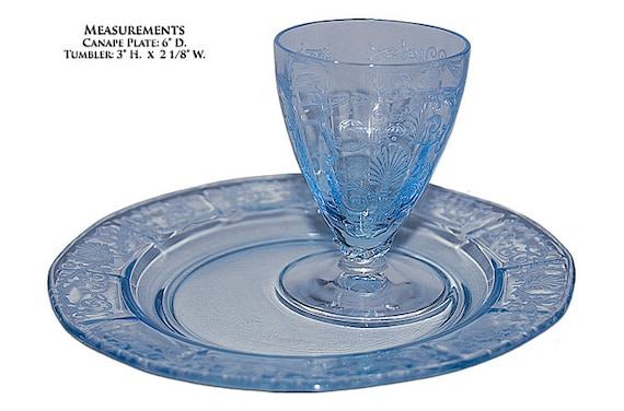 Fostoria versailles blue snack canape set tumbler and for Canape insurance