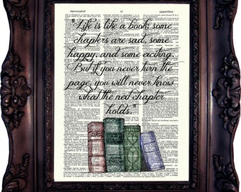 Book Art Print on Dictionary Page Book Art Literary Quotes Gift Ideas for Book Lover Book Quote Print BOOK LOVER GIFT C:651