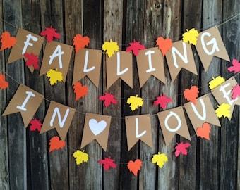 Falling in Love Banner- Baby Shower, Wedding, Fall Baby Shower, Bridal Shower, Photo Prop, Fall Party