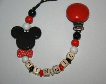 Personalzed pacifier chain - wooden beads - model Bebe