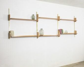 Wall Unit | WK Möbel Furniture 50s | made in germany | midcenrtury modern | elm wood | wall unit shelving system | String Eames Panton era