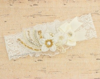 Ivory Headband, Couture Headband, Baby Girl Headband, Flower Girl Headband, Headband, lace Headband, Photo Prop-Couture Flower Girl Headband