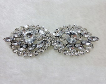 Silver Rhinestone Closure, Crystal Matching Button,Leaf Shaped Buckle,Wholesale Connector Clasp,Wedding Sash,Belt,Clothing Accessory Supply