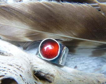 Silver Red Amber Ring Adjustable