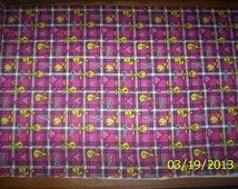 New Pink Plaid Looney Tunes Tweety and Hearts Flannel fabric by the yard and half-yard