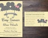 Mouse Ears Umbrella Baby Shower Invitation