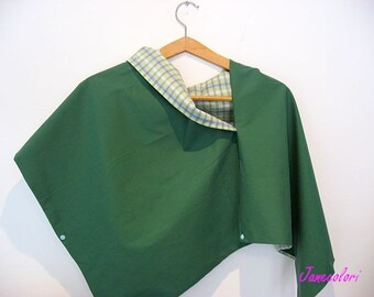 Shawl, Scarf , poncho doubleface,  green