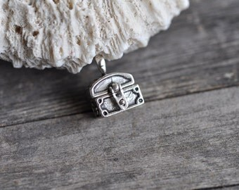 Sterling Silver Treasure Chest CHARM or PENDANT Movable Solid .925 Made in USA