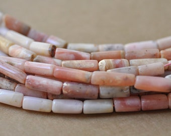 "Pink Peruvian Opal Tube Shape Beads 13-15 mm in size 16"" Strand"