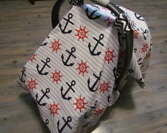 Nautical Infant Carrier Cover With Peek-a-boo Window / Baby Boy Shower Gift / Car Seat Canopy Tent / Blue Anchor Chevron Gray Stripes Minky