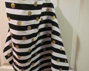 Nursing Breastfeeding Cover / Adjustable Strap / Black White Stripe Gold Dot