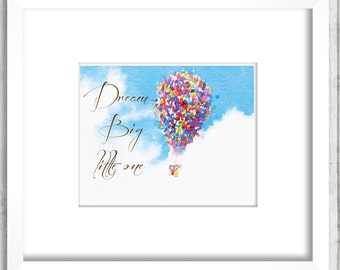 Dream big little one I, Watercolor ballons nursery, nursery wall decor, Baby Nursery Child room, children poster