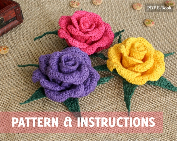 Pattern and Instructions - Crochet Flower Pattern - Crochet Pattern ...