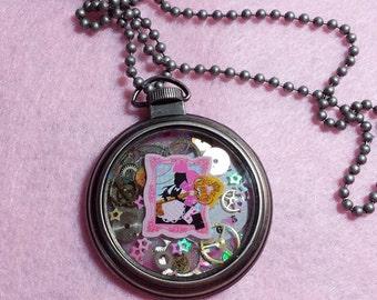 Kawaii Pastel Steampunk Alice in Wonderland Pocket Watch Necklace!
