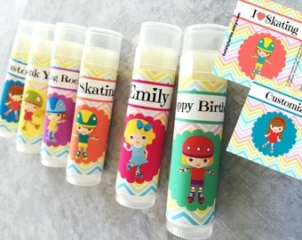 Roller Skating Lip Balm Party Favors - Set of 5 - Skate Party - Skating Favor Bags - Roller Skating Birthday - Invitation - Girls Skate Gift