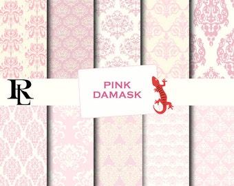 Pink Damask Digital Paper Pack - Digital Background - Paper background - Pink damask  paper pack - pink damask background