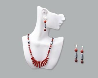 """Red Jasper Fan Focal """"Woman as Warrior"""" Necklace with Earrings"""