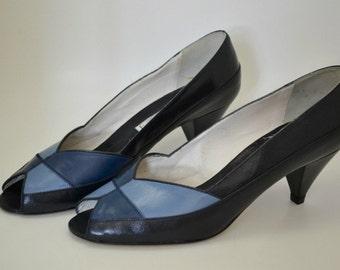 Castellini Calzature Di Lusso Vintage Open-Toe Blue Pumps, Size 8
