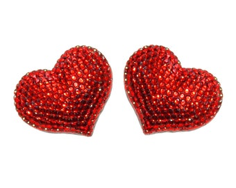 Refrigerator magnets - Handmade Fully Rhinestones Blinged Out Red Heart 2 pcs Set  - Rhinestone Bling Bling Unique Gifts Idea