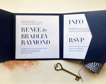 Modern Navy Wedding Invitation Suite / Set of 3 / Square Cards to fit Pocketfold Envelopes / Printable DIY Invites