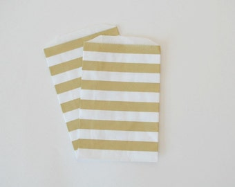 Metallic Gold Paper Bags // Gold Favor Bags // Gold Stripe Treat Bags 7.5x5 (Set of 25)