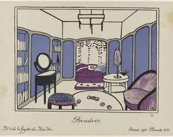 Fashionable interior design for bedroom from Gazette du Bon Ton 1921 reproduction print