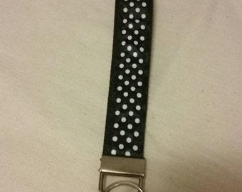 Handmade Black with White Polka Dots Key Fob/Wristlet