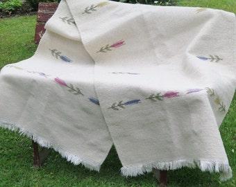 SALE ! Vintage Swedish Long Rug Rag with Tulips, 235 x 80 cm / 92,5'' x 31,5'' Off White Woven Wool Rug, Scandinavian Home Interior # 2-01