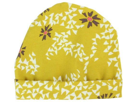 Mustard Yellow Floral Baby Beanie Hat Mustard Baby Leggings Baby Newborn Beanie Toddler Beanie Slouch Beanie Baby Gift Girl Mustard Baby Hat