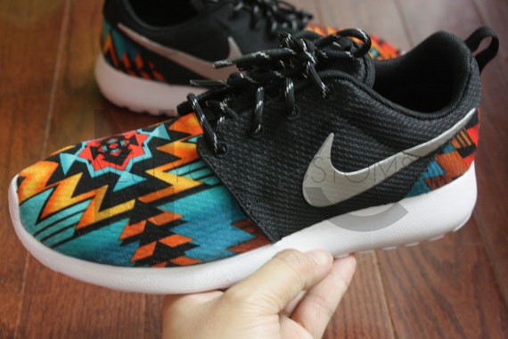 a364752de35f Nike Roshe Run Black Anthracite Aztec Tribal Print V5 by NYCustoms ...
