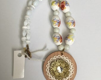 SALE!! Beaded Floral Pendant Necklace By Meaghan Roberts