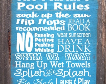 Personalized Pool Rules sign,  pool decor, Pool Rules Sign, pool house decor, pool house sign, swimming pool sign, backyard decor, 70