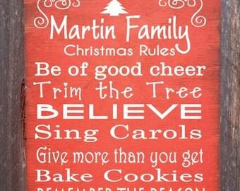 Personalized Christmas Rules Sign, Christmas Decor, Christmas Sign, Personalized Sign, holiday decor, seasonal decor, holiday sign, 58