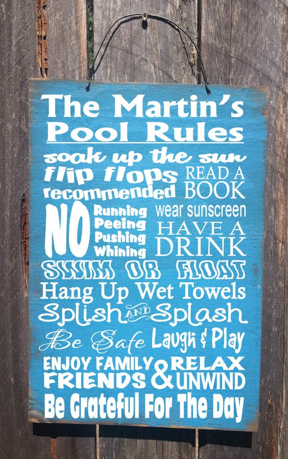 pool sign, pool decor, pool decoration, Personalized Pool Rules, pool decor, pool house, pool rules, 70