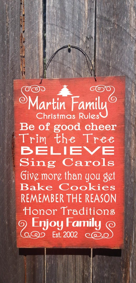 Personalized Christmas Rules Sign, Christmas Decor, Christmas Sign, Personalized Sign, holiday decor, seasonal decor, holiday sign, 58