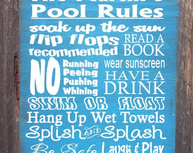 pool sign, pool decor, pool decoration, Personalized Pool Rules, pool decor, pool house, pool rules, 70
